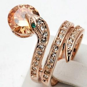 Jewelry - 3/$30 Rose Gold Crystal Snake Coil Ring